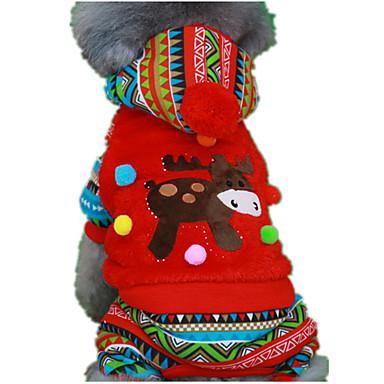 Pies Bluzy z kapturem Kombinezon Święta Bożego Narodzenia Ubrania dla psów Urocza Święta Bożego Narodzenia Rysunek Czerwony Green Kostium