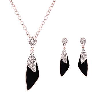 Σετ Κοσμημάτων Κρυστάλλινο Μοντέρνα κοσμήματα πολυτελείας Leaf Shape Χρυσό Τριανταφυλλί 1 Κολιέ 1 Ζευγάρι σκουλαρίκια ΓιαΓάμου Πάρτι