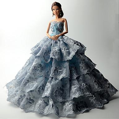 Prinsessa Mekot varten Barbie-nukke Pitsi Organza Leninki varten Tytön Doll Toy