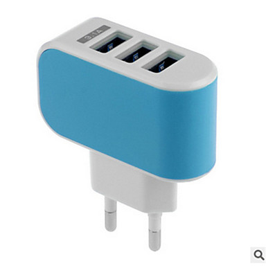 billige Telefonladere-Stasjonær lader USB-lader Us Plugg / Eu Plugg Hurtiglading / Flere porter 3 USB-porter 3.1 A til