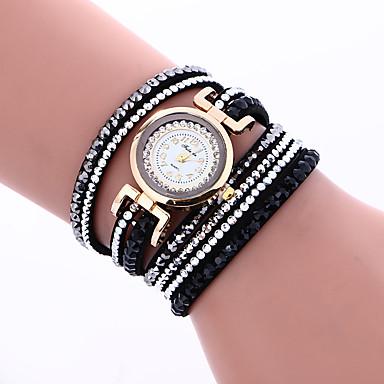 Kadın's Quartz Bilezik Saat Taşlı / PU Bant İhtişam Bohem Moda Halhal Siyah Beyaz Kırmızı Pembe