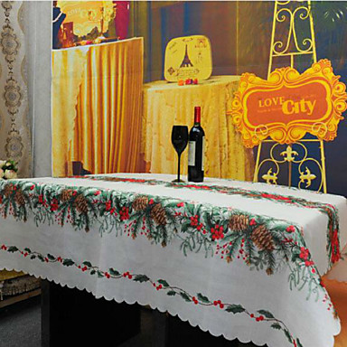 광장 패턴 / 자수 식탁보 , 리넨 / 면 혼합 자료 크리스마스 장식의 부탁 1