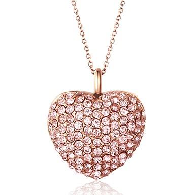 Damskie Serce Stal nierdzewna Kryształ górski Miłość Modny Biżuteria Na Cicha sympatia