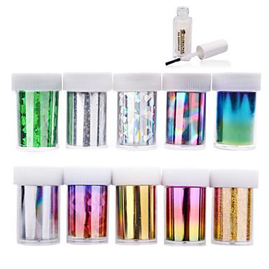 3D Acțibilduri de Unghii - Deget / Vârf - Abstract - PVC - 4cmX120cm each piece - 10pcs nail foils + 1pcs nail foil glue