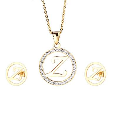 Damskie Zestawy biżuterii Początkowa Biżuteria Stal nierdzewna Pozłacane 1 Naszyjnik 1 parę kolczyków Na Impreza Codzienny Casual