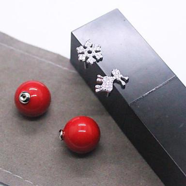 karácsonyi hópehely őz nagy gyöngy fülbevaló lányok Joker piros kagyló gyöngy aszimmetrikus fülbevaló