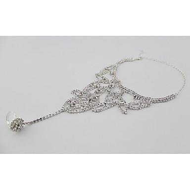 Kadın Ayak bileziği/Bilezikler Yapay Elmas Simüle Elmas Gelin Avrupa Leaf Shape Mücevher Uyumluluk Düğün Parti Günlük