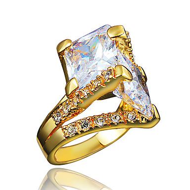 Kadın Yüzük Kübik Zirconia Altın Kaplama 18K altın Mücevher Uyumluluk Düğün Parti Günlük