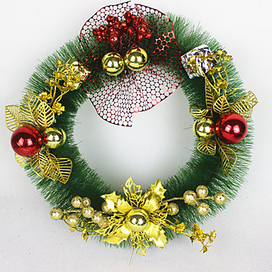 홈 파티 직경 30cm를위한 크리스마스 화 환 소나무 바늘 크리스마스 장식 새 해 공급 NAVIDAD