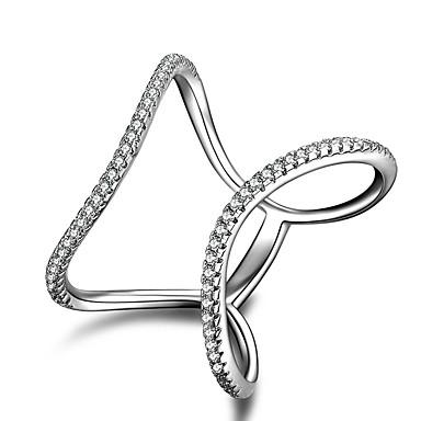 Damskie Band Ring / Pierscionek / Pierścionki na środek palca - Srebrny Modny Jeden rozmiar Silver Na Ślub / Impreza / Casual / Pierścionek zaręczynowy