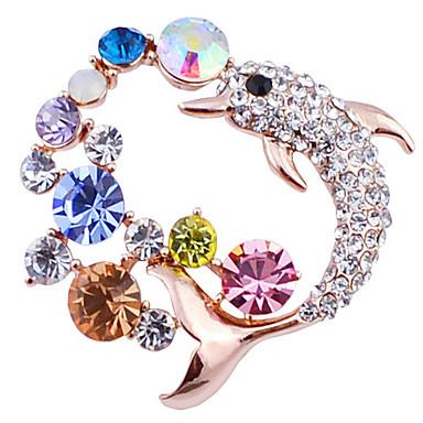 Kadın Broşlar lüks mücevher Simüle Elmas Animal Shape Yunus Mücevher Uyumluluk Parti
