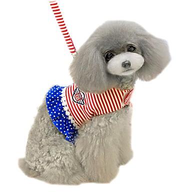 قط كلب أربطة المقاود ناعم الأمان سترة عادية منقط مخطط شخصية قماش أزرق زهري