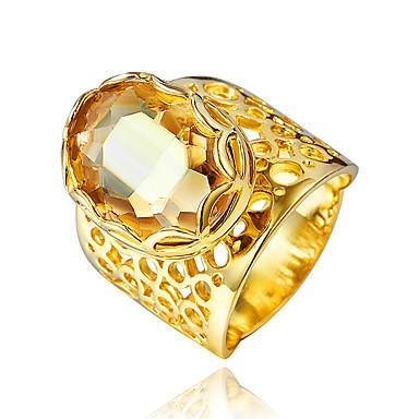 Női Kocka cirkónia Gyűrű - Arannyal bevont, 18 karátos futtatott arany Arany
