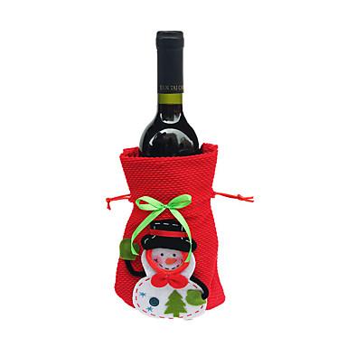 klirens Merry Xmas Santa Claus butelki wina torby pokrywa Christmas Dinner Party tabeli wystrój worki czerwone
