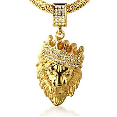 ieftine Coliere-Bărbați Zirconiu Cubic Coliere cu Pandativ Gravat lanțul franco Leu King Coroane Personalizat Rock Hip-Hop Dubai 18K Placat cu Aur Aur Alb Diamante Artificiale Auriu Coliere Bijuterii 1 buc Pentru