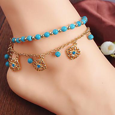 Kadın's Ayak bileziği / Bilezikler Simüle Elmas alaşım Püskül Bohem Avrupa Boncuklu Ayak bileziği Mücevher Uyumluluk Düğün Parti