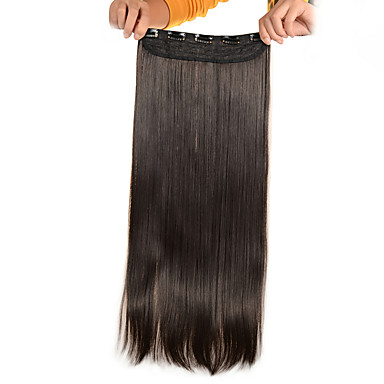 5 clips lange rechte licht bruin (# 6) synthetisch haar clip in hair extensions voor dames