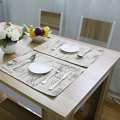 Suorakulma Painettu Placemats , Cotton Blend materiaali Hotel ruokapöytä Taulukko Dceoration