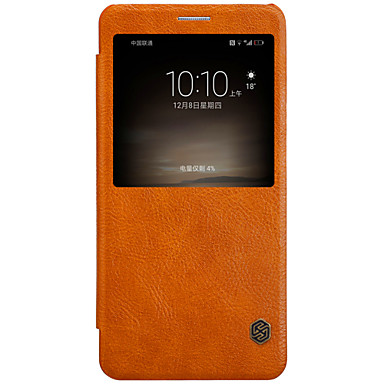 tok Για Huawei Θήκη καρτών με παράθυρο Αυτόματη αδράνεια / αφύπνιση Ανοιγόμενη Πλήρης Θήκη Συμπαγές Χρώμα Σκληρή PU δέρμα για Mate 9