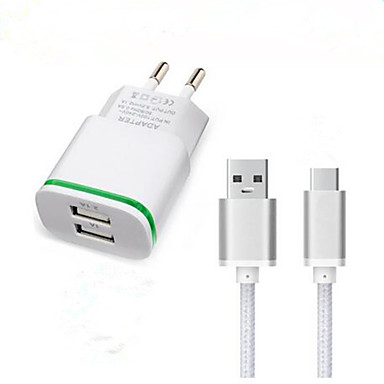billige Hurtigladere-Stasjonær lader USB-lader Eu Plugg Hurtiglading / Lader Kitt 2 USB-porter 3.1 A til