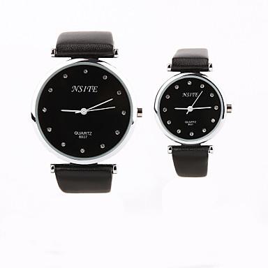 gepersonaliseerde cadeau nieuwe stijl paar zwarte case pu leren band kwarts analoge pols gegraveerd horloge