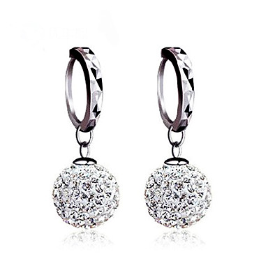 Women's Ball Sterling Silver Cubic Zirconia Silver Stud Earrings Ball Earrings Earrings - Classic Basic Silver Earrings For Wedding Party
