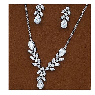 κοσμήματα πολυτελείας Ζιρκονίτης Cubic Zirconia Ασημί Κολιέ Cercei Για Πάρτι 1set Δώρα Γάμου