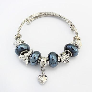 Damskie Bransoletki z breloczkami Bransoletki Strand Miłość Serce Modny Europejski Stop Heart Shape Biżuteria Na Codzienny
