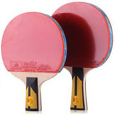 6 Stele Ping Pang/Tenis de masă Rackets Ping Pang Culoarea Lemnului Mâner Lung Cosurile