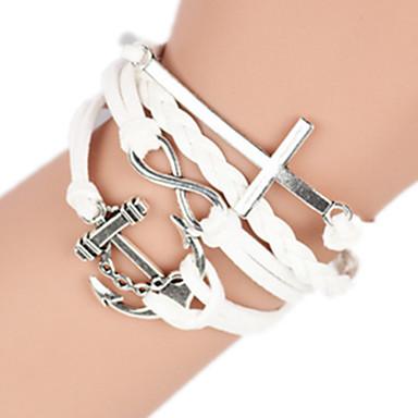 Damskie Bransoletki bangle Modny Wielowarstwowy Ręcznie wykonane Europejski Stop Cross Shape Kotwica Nieskończoność Biżuteria NaUrodziny