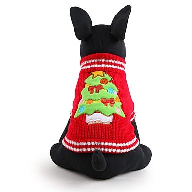 كلب البلوزات ملابس الكلاب الأزهار / النباتية أحمر الاكريليك وألياف كوستيوم للحيوانات الأليفة للرجال للمرأة جميل الدفء موضة عيد الميلاد
