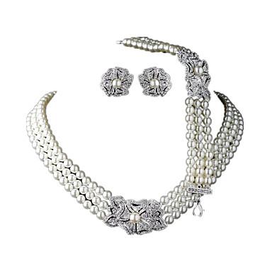 Damskie Zestawy biżuterii Perła Ślubny Europejski Ślub Codzienny Perłowy Imitacja diamentu 1 Naszyjnik 1 parę kolczyków