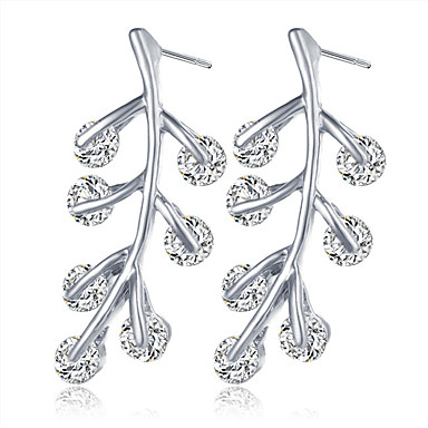 Vidali Küpeler Kristal Kristal Gümüş Kaplama Altın Kaplama alaşım Altın Gümüş Mücevher Için Düğün Parti 1 çift