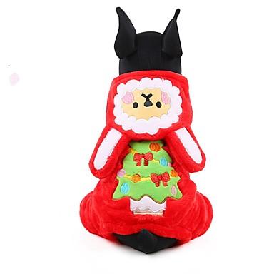 Köpekler Kapüşonlu Giyecekler Tulumlar Köpek Giyimi Kış Çiçek/Botanik Sevimli Moda Sıcak Tutma Noel Kahverengi Kırmzı