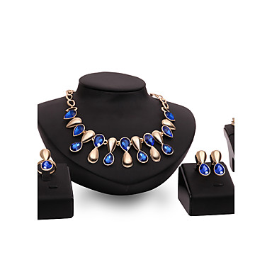 Σετ Κοσμημάτων Πανκ Στυλ Κράμα Κρεμαστό Βυσσινί Μπλε 1 Κολιέ 1 Ζευγάρι σκουλαρίκια 1 Βραχιόλι Δακτυλίδια Για Γάμου Πάρτι Καθημερινά 1set