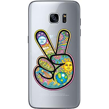 Pouzdro Uyumluluk Samsung Galaxy S7 edge S7 Ultra İnce Şeffaf Temalı Arka Kılıf Karton Yumuşak TPU için S7 edge S7 S6 edge plus S6 edge S6