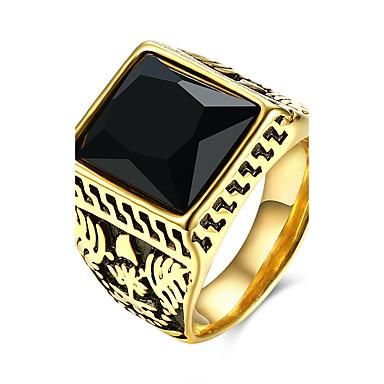 للرجال خاتم أوروبي الفولاذ المقاوم للصدأ الصلب التيتانيوم زجاج مربع Geometric Shape مجوهرات حزب يوميا فضفاض