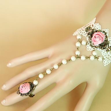 Naisten Rannekoru-sormukset Vintage Goottityyli Pitsi Flower Shape Valkoinen Korut Varten 1kpl