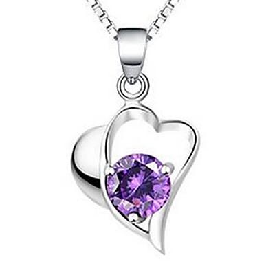 Γυναικεία Κρεμαστά Κολιέ Κρυστάλλινο Heart Shape Κοσμήματα Ασήμι Στερλίνας Ζιρκονίτης Cubic Zirconia Βασικό Love Κοσμήματα Για Causal