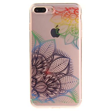 Kılıf Na Apple iPhone 7 Plus iPhone 7 IMD Przezroczyste Wzór Czarne etui Kwiaty Miękkie TPU na iPhone 7 Plus iPhone 7 iPhone 6s Plus