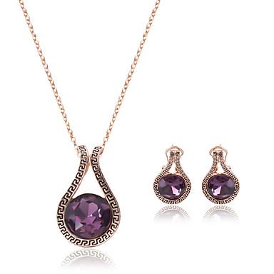 Γυναικεία Συνθετικό Αμέθυστο Κρύσταλλο Κρεμαστό Κοσμήματα Σετ 1 Ζευγάρι σκουλαρίκια / Κολιέ - Βυσσινί Για Γάμου / Πάρτι