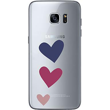 Etui Til Samsung Galaxy S7 edge / S7 Ultratyndt / Transparent / Mønster Bagcover Hjerte Blødt TPU for S7 edge / S7 / S6 edge plus