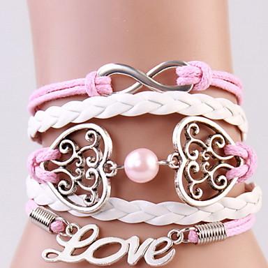 للمرأة أساور التفاف قديم قوطي جلد قلب LOVE مجوهرات هدية