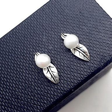 Damskie Kolczyki na sztyft Biżuteria Modny luksusowa biżuteria Perłowy Srebro standardowe Leaf Shape Biżuteria Na Codzienny Casual