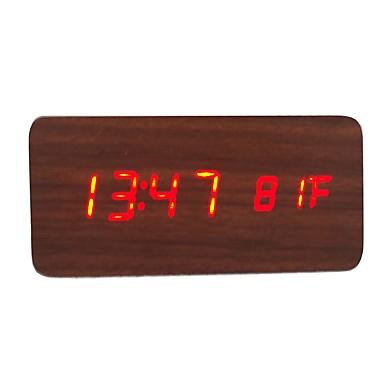 raylinedo® cele mai recente roșu de design de moda din lemn maro condus lemn alarmă ceas digital de afișare a datei de temperatură -time