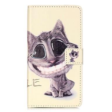 Pentru Portofel Titluar Card Cu Stand Întoarce Model Magnetic Maska Corp Plin Maska Pisica Greu PU piele pentru HuaweiHuawei P9 Huawei P9