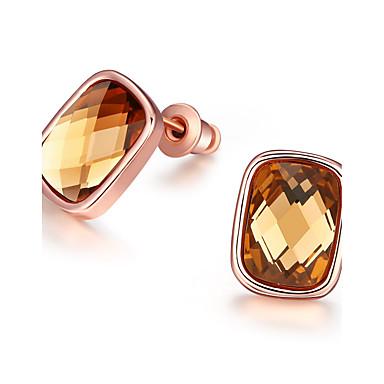للمرأة أقراط الزر الماس الاصطناعية أساسي مطلي بذهب وردي أخرى مجوهرات بني فاتح زفاف حزب يوميا فضفاض مجوهرات