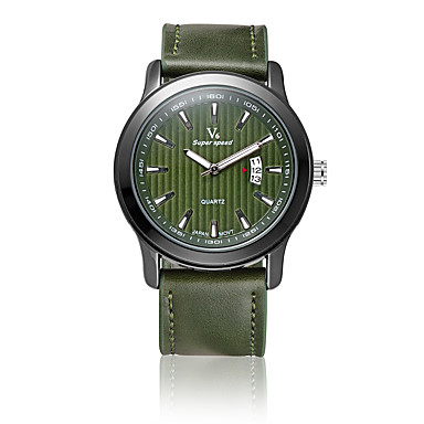 V6 Erkek Moda Saat Quartz / PU Bant Günlük Siyah Kahverengi Yeşil Siyah Kahverengi Omuz Yeşil