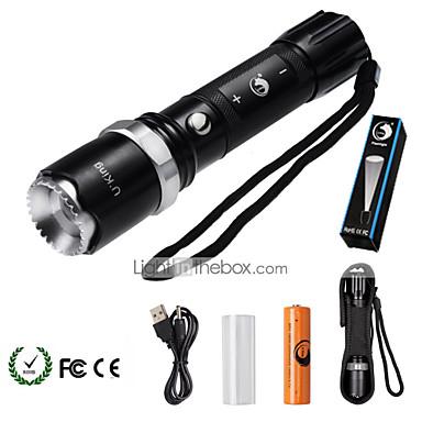 U'King LED taskulamput LED 2000 lm 5 Tila LED Akulla Zoomable Säädettävä fokus Himmennettävissä Telttailu/Retkely/Luolailu