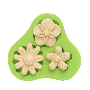 ثلاثة ثقوب زهرة غومباست سيليكون قالب فندان قوالب السكر الحرفية أدوات الراتنج الزهور العفن لون عشوائي